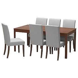 IKEA EKEDALEN / HENRIKSDAL (492.214.39) Стіл та 6 стільців, коричневий, Orrsta світло-сірий