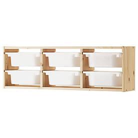 IKEA TROFAST (491.023.04) Настенный шкаф светлая сосна, ящик белый