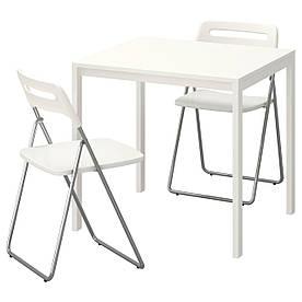 IKEA MELLTORP / NISSE (191.614.89) Стол и 2 раскладных стула, белый, белый