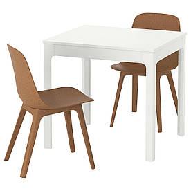 IKEA EKEDALEN / ODGER (192.213.27) Стол и 2 стула, белый, коричневый