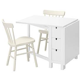 IKEA NORDEN / NORRARYD (192.291.73) Стол и 2 стула, белый, белый