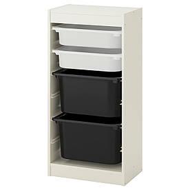 IKEA TROFAST (592.285.91) Шафа з контейнерами, білий,чорний ящик білий