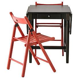 IKEA INGATORP / TERJE (999.320.45) Стол и 2 стула, черный и красный