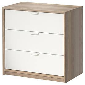 IKEA ASKVOLL (202.708.02) Комод, 3 висувних ящика, пофарбований білим, білий