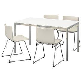IKEA TORSBY / BERNHARD (591.615.62) Стіл і 4 стільця, біла Полку кават