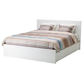 IKEA MALM (390.479.21) Ліжко, висока, 2 контейнери, білий вітраж, Luroy