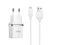Сетевое зарядное устройство Hoco 2.4А с кабелем Iphone (White)
