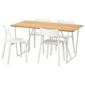 IKEA OVRARYD / JANINGE (791.615.75) Стіл і 4 стільця бамбук