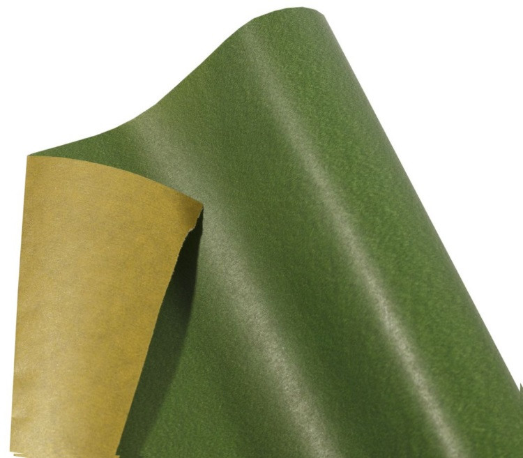 Бумага упаковочная пт475.3 подарочная двухсторонняя темно-зеленый-золото крафт 0,7х10м