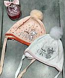 Весенняя польская шапочка для девочки ( белая) Barbaras р-р 42-44, фото 2