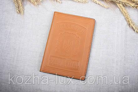 Обложка на паспорт рыжая, натуральная кожа, фото 2