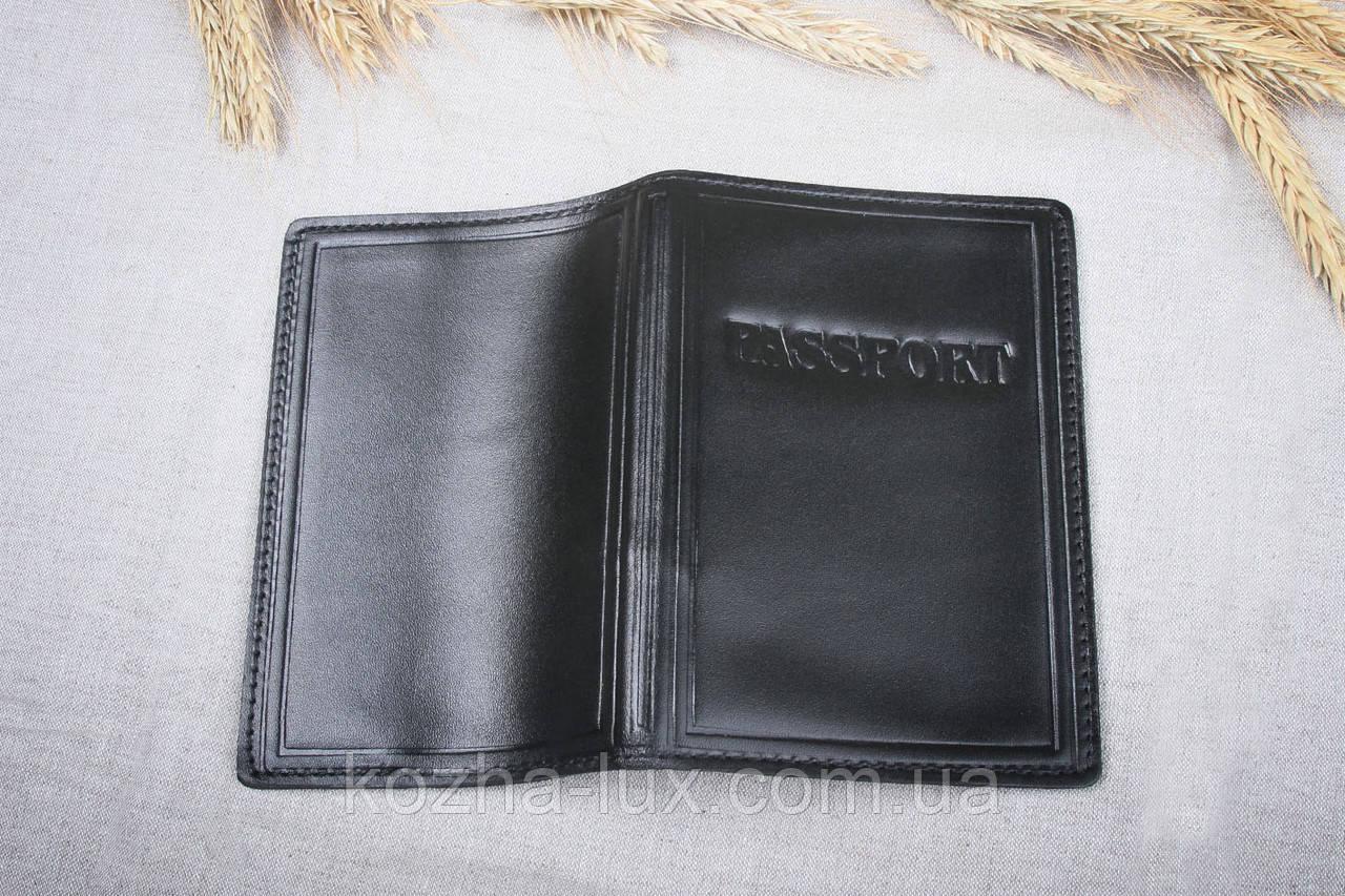 Обложка на паспорт, черная, натуральная кожа
