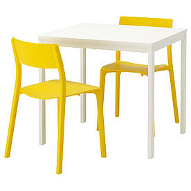 IKEA VANGSTA / JANINGE (592.212.12) Стол и 2 стула, белый, желтый