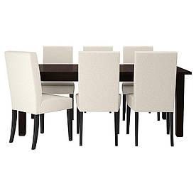 IKEA STORNAS / HENRIKSDAL (399.173.35) Стіл та 6 стілець, коричнево-чорний, натуральний Linneryd