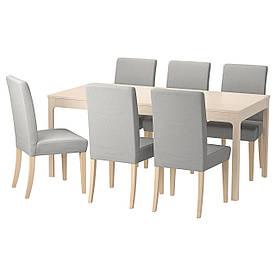 IKEA EKEDALEN / HENRIKSDAL (092.292.20) Стіл та 6 стільців, оррста світло-сірий