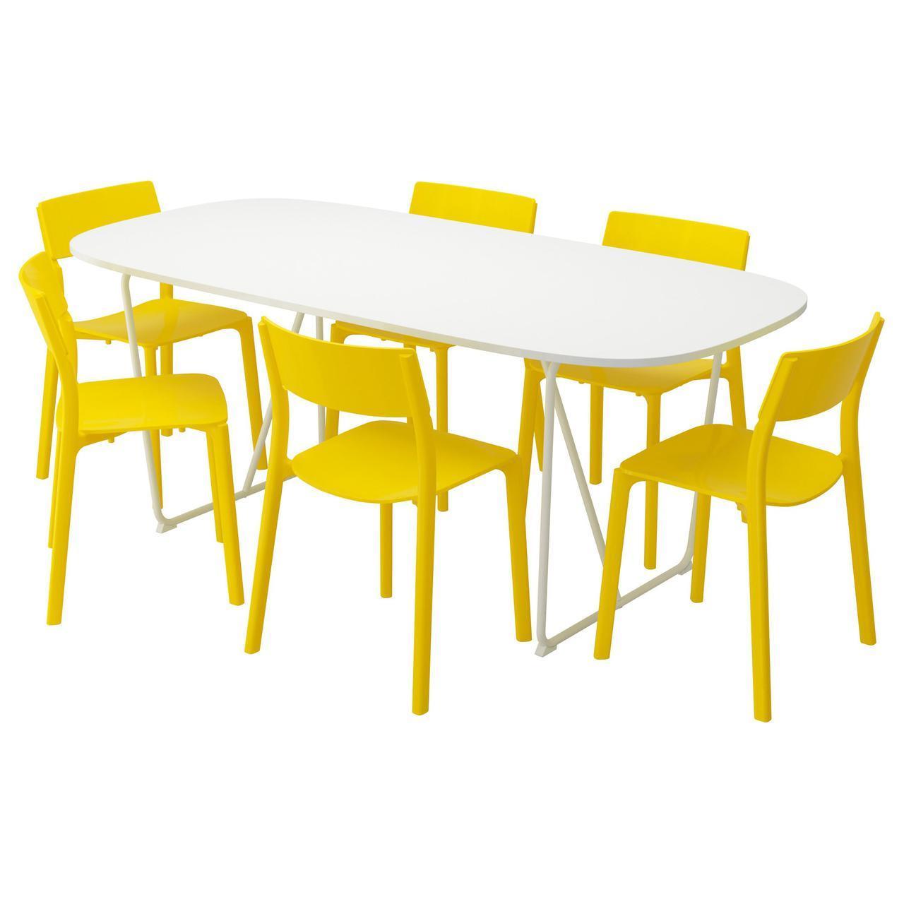 IKEA OPPEBY/BACKARYD / JANINGE (891.032.45) Стол и 6 стульев, белый, желтый