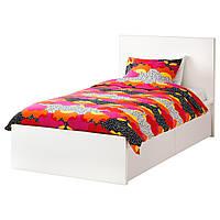 IKEA MALM (890.327.38) Кровать, высокая, 2 контейнера, белый витраж, Luroy