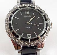 Женские часы Chanel (Шанель) 012873 черные с серебром в стразах