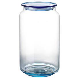 IKEA GLASSFANTAST (303.453.74) Ящик з кришкою, світло-блакитне скло, пластик