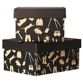 IKEA HABOL (301.155.99) Коробка з кришкою, чорний