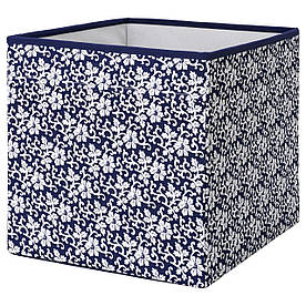 IKEA DRONA (102.819.57) Ящик-Коробка синій, білий квітковий візерунок