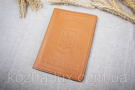 Обкладинка на паспорт руда, натуральна шкіра, фото 2