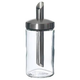 IKEA DOLD (401.038.26) Цукорниця, прозоре скло, нержавіюча сталь