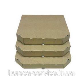 Коробка картонная под пиццу квадратная крафт.бурая Craft 400*400*4, фото 2