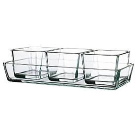 IKEA MIXTUR (601.016.52) Термостійкий посуд, 4 шт., Прозоре скло