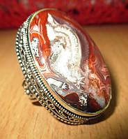 """Яркое кольцо с агатом лагуной """"Космос"""" , размер 18.8, фото 1"""