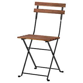 IKEA TARNO (900.954.28) ТЭРНО Садовый стул, складной черный / светло-коричневая морилка