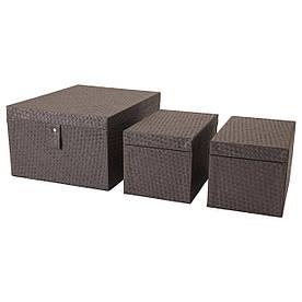 IKEA BATTING (603.272.36) Коробка для одягу, 3 шт., Чорний