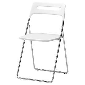 IKEA NISSE (101.150.67) Складной стул, белый полированный, хромированный