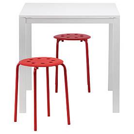 IKEA MELLTORP / MARIUS (890.127.59) Стол и 2 стола, белый, черный
