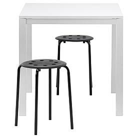 IKEA MELLTORP / MARIUS (990.117.64) Стол и 2 стола, белый, черный
