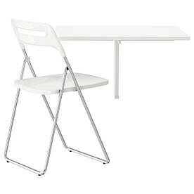 IKEA NORBERG / NISSE (799.127.60) Стол и 1 стул белый, хром белый