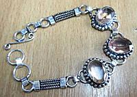 """Красивый браслет """"Змейка"""" с морганитовым кварцем, фото 1"""
