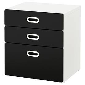 IKEA STUVA / FRITIDS (592.622.31) Комод, 3 ящика, белый, красный