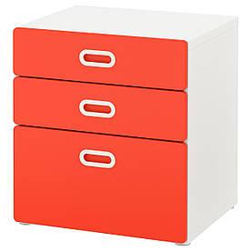 IKEA STUVA / FRITIDS (692.526.70) Комод, 3 ящика, белый, красный