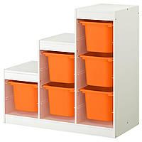 IKEA TROFAST (591.289.35) Шкаф, белый, ящик оранжевый