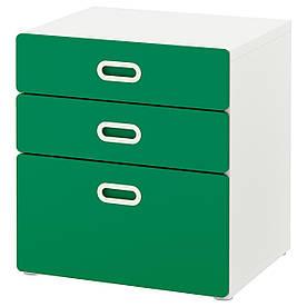 IKEA STUVA / FRITIDS (192.622.28) Комод, 3 ящика, белый, красный