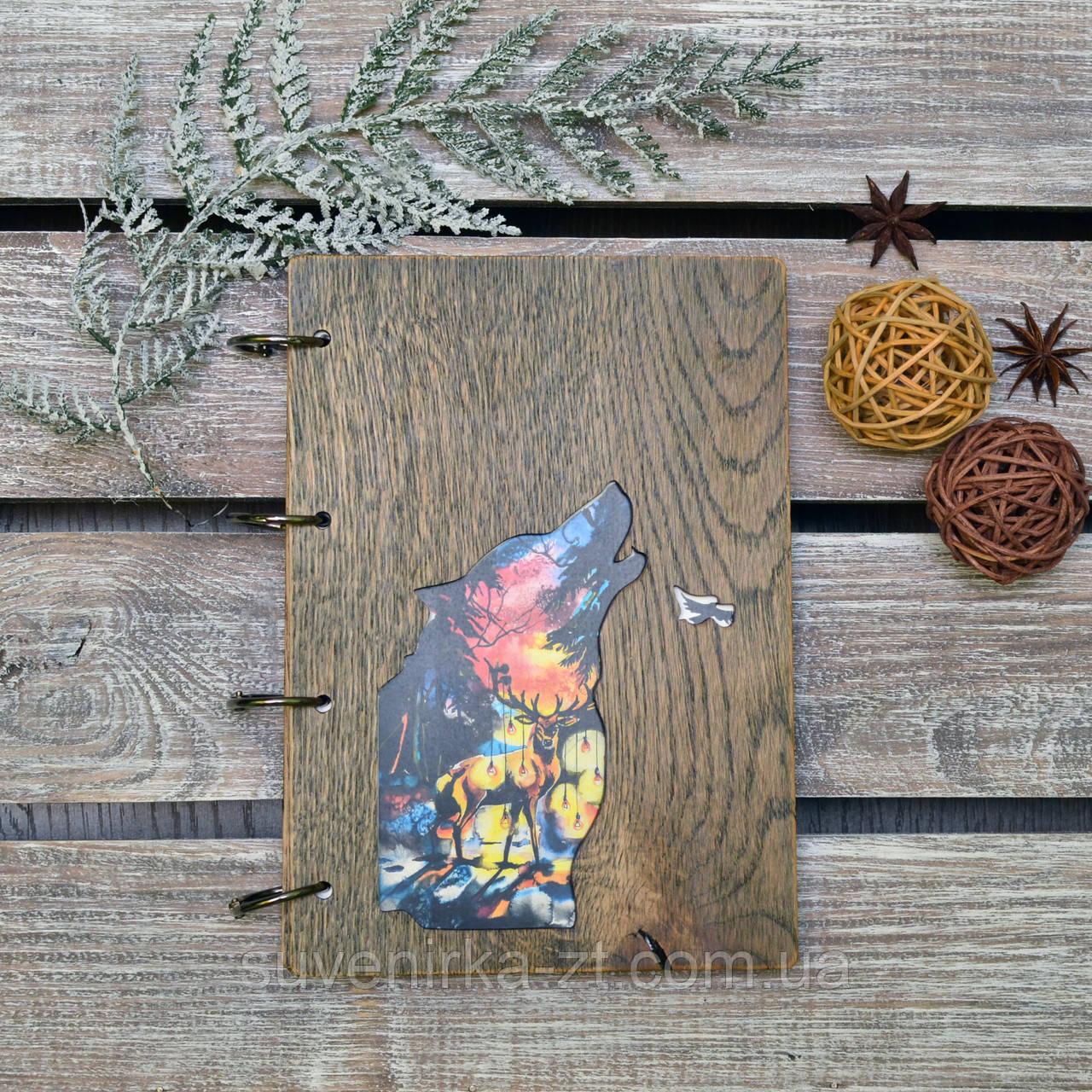 Блокноты с деревянной обложкой9. На кольцах. Волк. А5. (А00612)