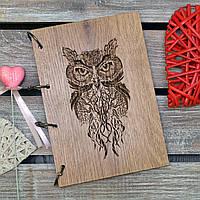 Блокнот с деревянной обложкой. На кольцах. Сова. А5. (А00608)