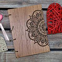 Блокноты с деревянной обложкой. На кольцах. Мандала. А5. (А00609)