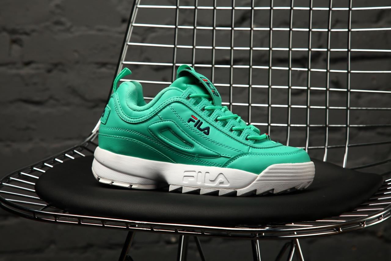 Женские весенние кроссовки Fila Disraptor 2 (green), зеленые женские кроссовки фила дасраптор 2