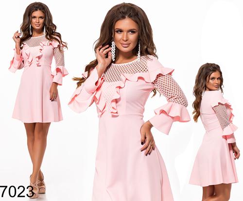 Нарядное платье с рукавом три четверти (розовый) 827023