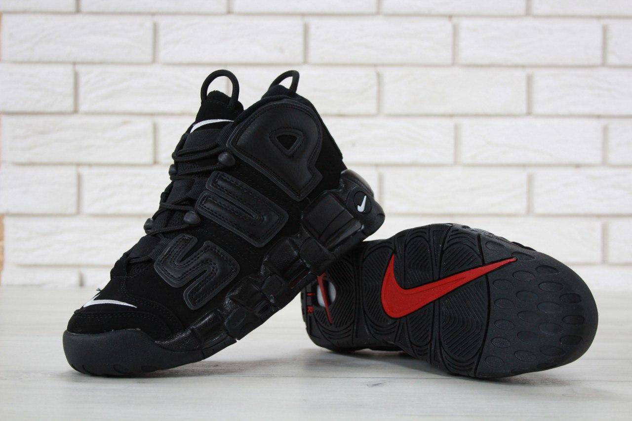 Кроссовки Nike Uptempo реплика ААА+ (нат. замша,кожа) размер 41 черный (живые фото), фото 1