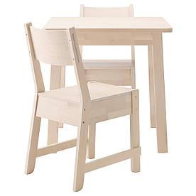 IKEA NORRAKER / NORRAKER (191.172.98) Стол и 2 стула, белая береза, белая береза