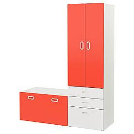 IKEA STUVA / FRITIDS (892.530.51) Шафа зі лавкою, білий, червоний