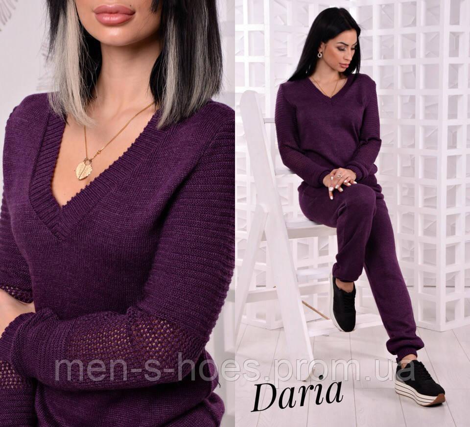 Вязаный  костюм фиолетовый